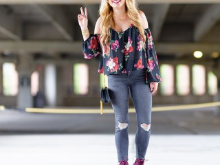 florals, fall florals, topshop jeans, high waisted jeans, ripped denim, booties, off the shoulder top, sixites, saint laurent handbag, monogram bag