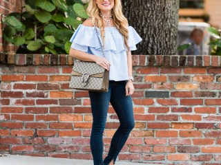 shein, ruffle top, off the shoulder, booties, cutouts, lace up booties, ray ban sunglasses, mirrored aviators