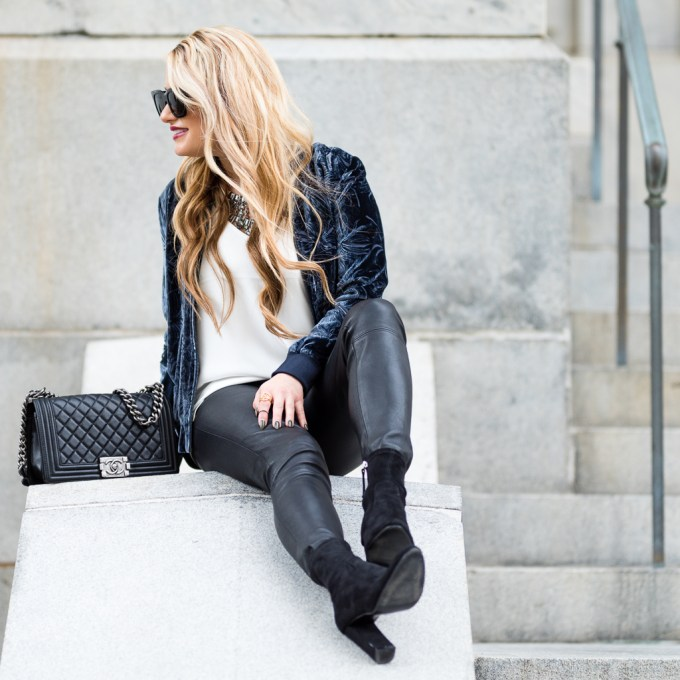 blogger besties, velvet, bomber, flare jeans, sweater dress, velvet booties, statement necklace