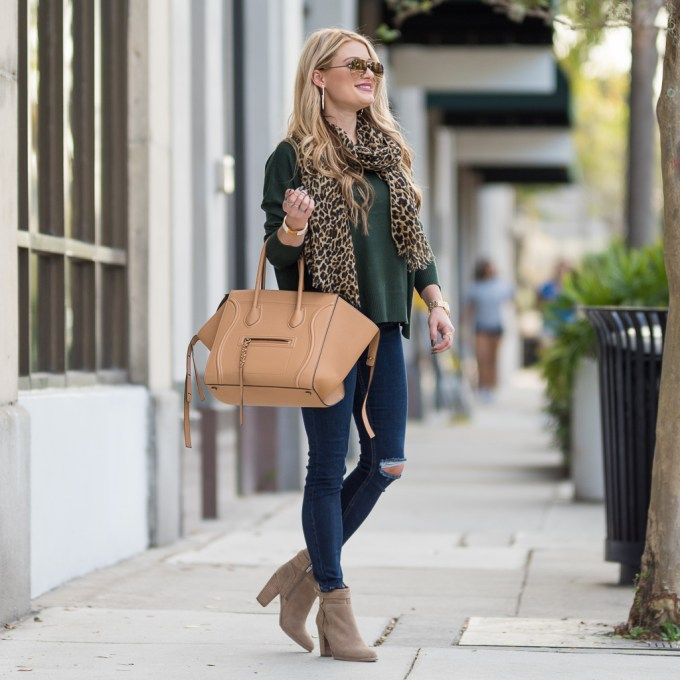 Sweater: BP | Denim: Topshop | Booties: Vince Camuto | Bag: Céline | Sunnies: Céline, very similar Ray Ban's here | Rings: BaubleBar