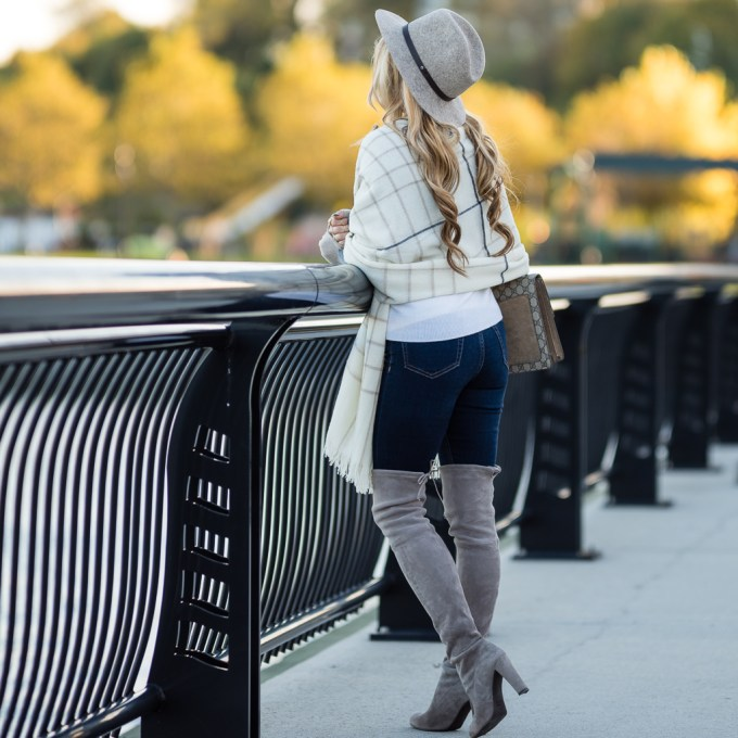 rag and bone, blanket scarf, stuart weitzman boots, highland, equipment sweater, celine aviators, otk boots, over the knee boots