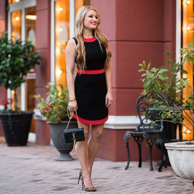 alice and olivia dress, red and black, festive, leopard pumps, saint laurent monogram, christmas dress, holiday style