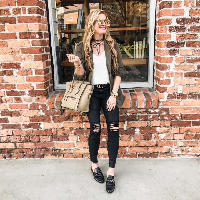 cargo jacket, gucci loafers, topshop tank, celine luggage, celine micro