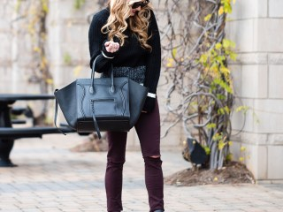 topshop sweater, colored denim, burgundy jeans, ripped denim, valentino booties, studded booties, celine phantom luggage, celine sunglasses