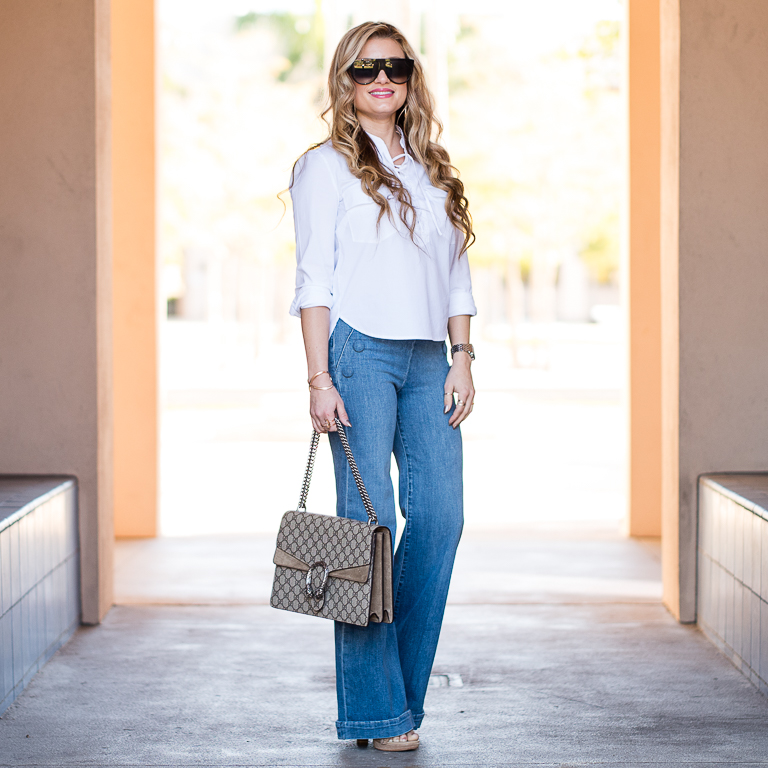veronica beard, frame denim, flare jeans, gucci handbag, gucci dionysus, white blouse, classic, lace up top, celine sunglasses