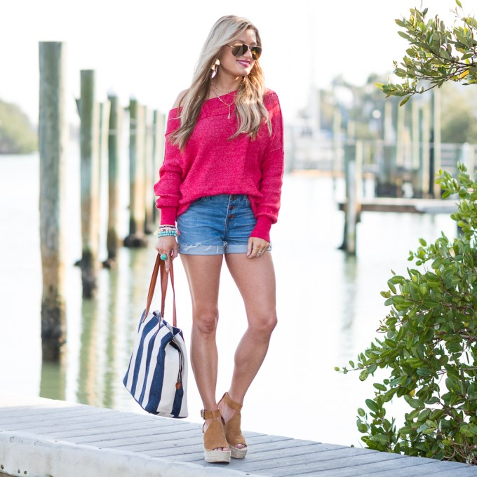 slouchy sweater, cut off shorts, madewell, free people, sole society, beach bag, marc fisher, wedges, ray ban, mirrored aviators