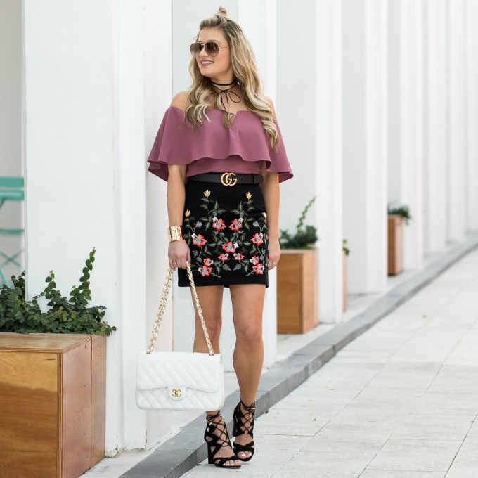 topshop, leith, chanel timeless classic, chanel bag, lace up heels, celine aviators, off the shoulder top, embroidered skirt