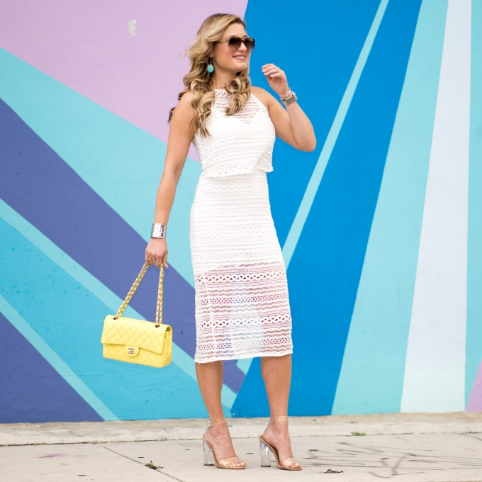 line & dot, white dress, chanel bag, steve madden sandals, express, silver cuff, turquoise, nordstrom, wynwood miami