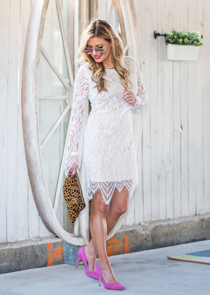 lace dress, nordstrom, pink pumps, sam edelman, leopard clutch, mirrored aviators, clare v