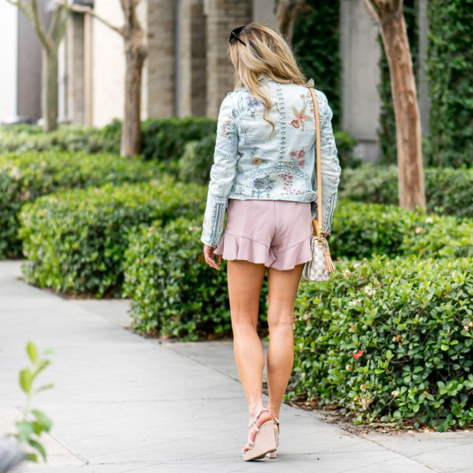 blanknyc, embroidery, louis vuitton, wedges, shorts, ruffles, studs, denim jacket