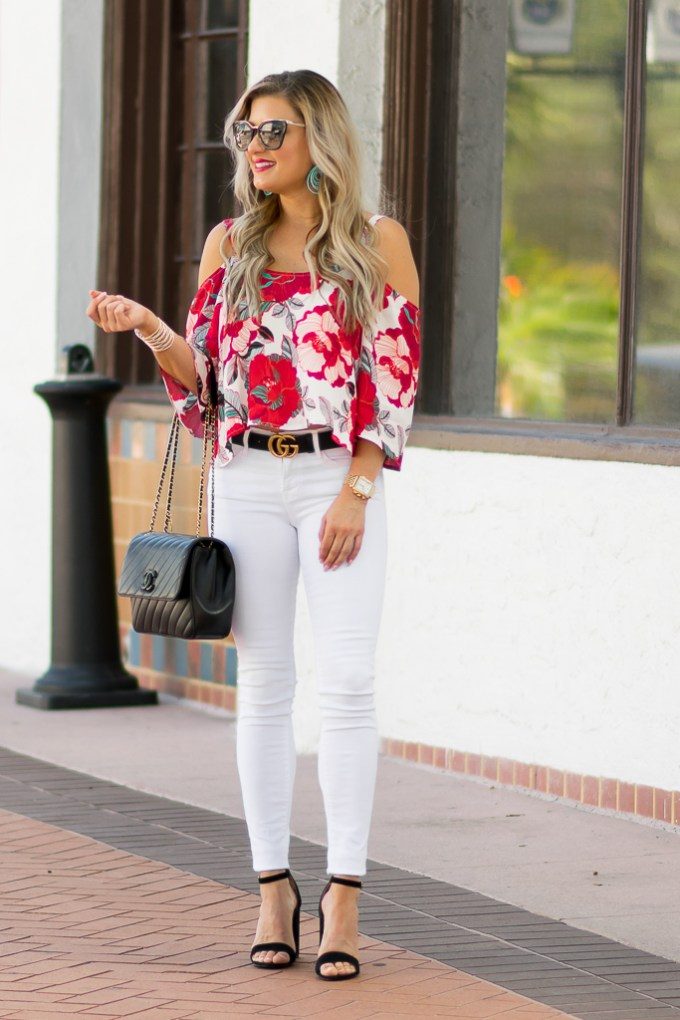 white ripped denim steve madden heels chanel classic