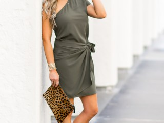 day dress one shoulder leopard clutch
