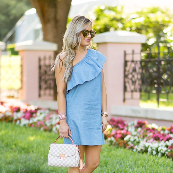 chambray ruffle dress louis vuitton