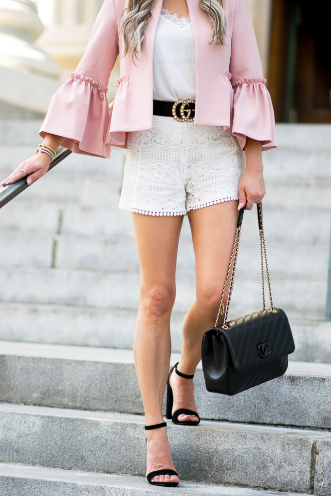 bell sleeves gucci belt lace shorts