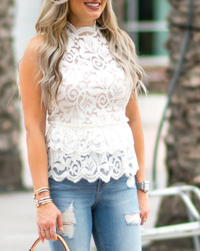 lace scalloped peplum tank