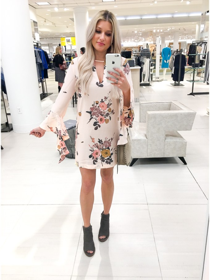 floral dress bell sleeves vince camuto booties