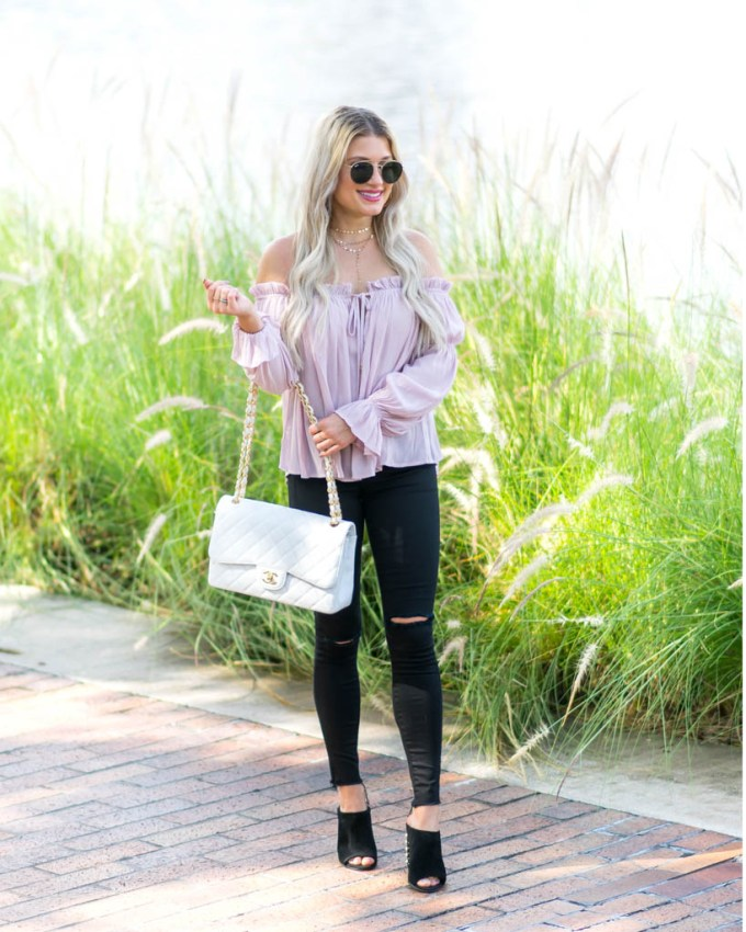 ruffle off the shoulder blouse