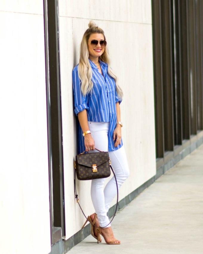 blue and white striped oversize button down shirt