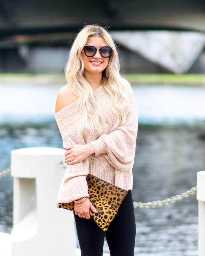free people sweater leopard clare v clutch