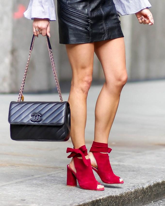 chanel handbag faux leather skirt