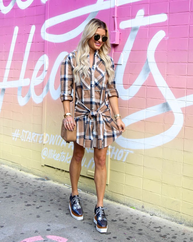 plaid dress tie wrap stella mccartney platform wedges