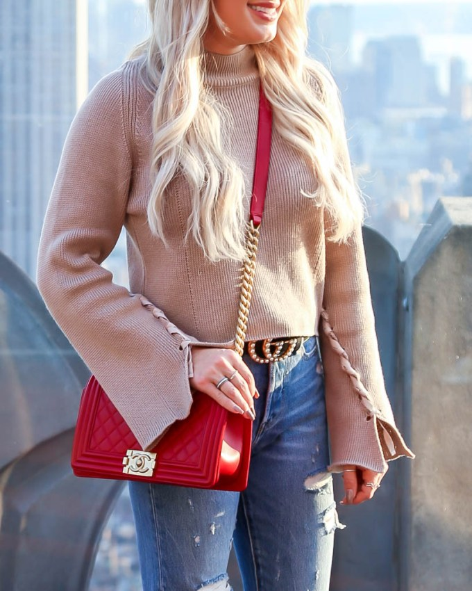 camel cropped sweater gucci belt