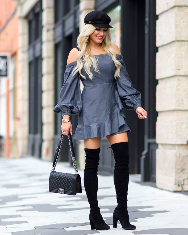 gray ruffle dress over the knee boots