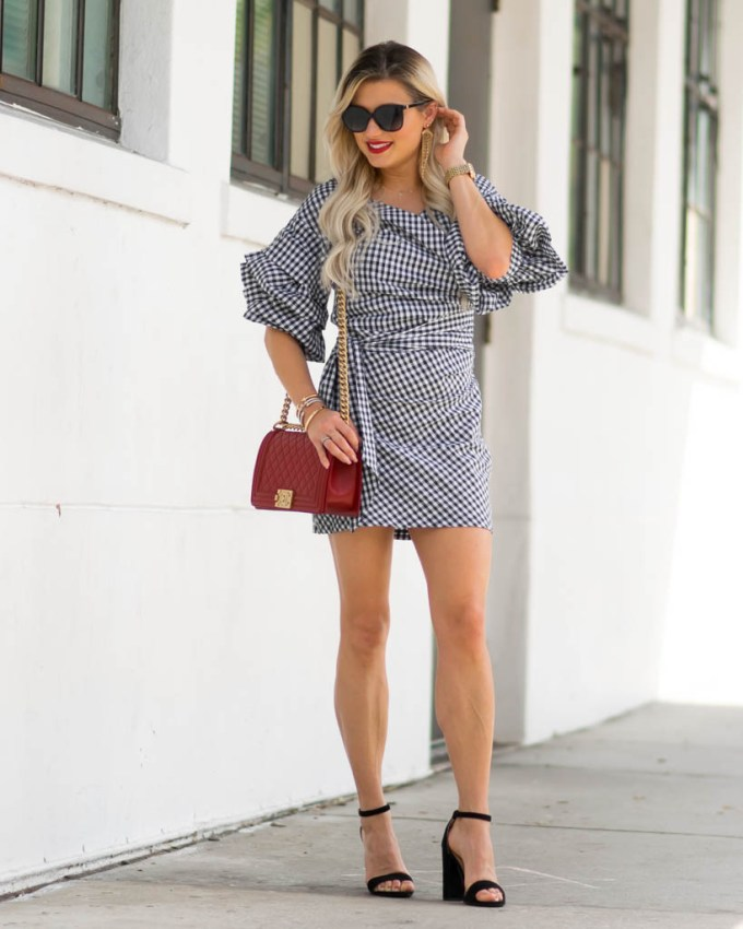 lioness black and white wrap dress