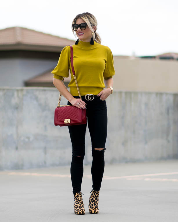 chartreuse puff sleeve sweater