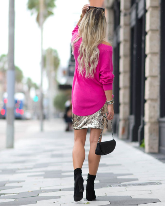 gold sequin skirt holiday chic