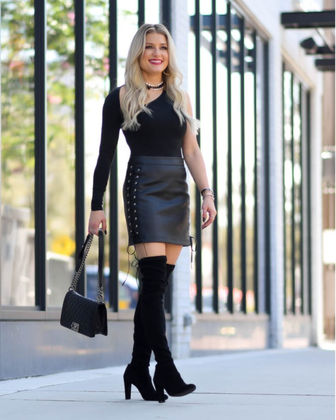 lace up faux leather skirt