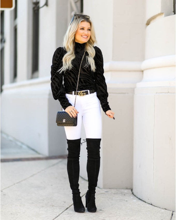 black chevron woc over the knee boots