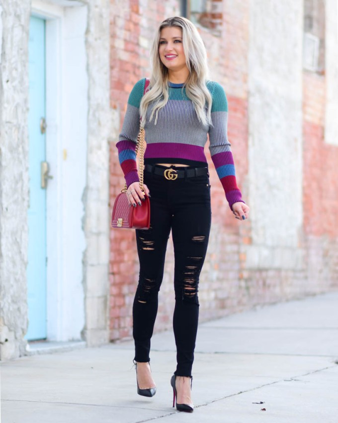 cropped sweater black ripped denim
