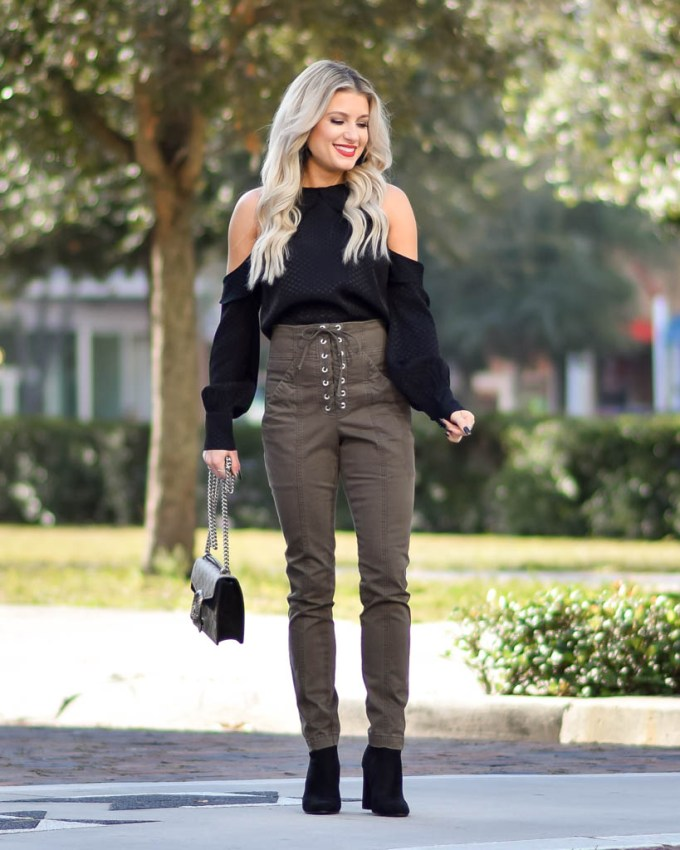 olive green lace up pants ALC nordstrom