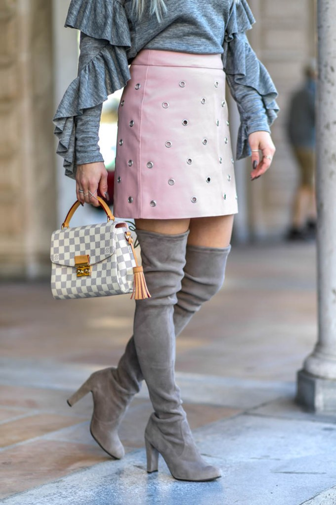 pink faux leather topshop skirt otk boots