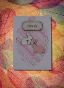 Thank You Card Rabbits Laser Engraved