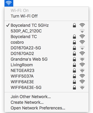 Regular WiFi menu