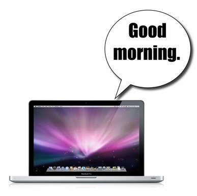 "MacBook Pro with ""Good Morning"" speech bubble."