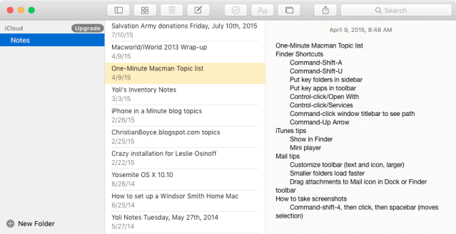 Apple's Mac Notes app without scroll bars