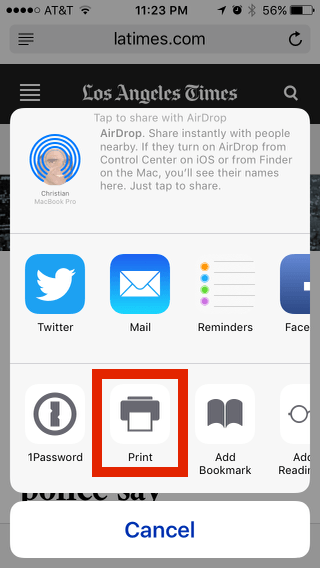 Printer button in sharing panel-- you may have to scroll right a bit to find it.