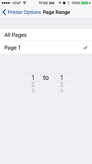Print from an iPhone: Printing from page 1 to page 1