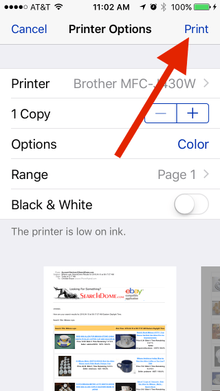 Print from an iPhone: Tap Print at top right of screen