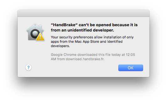 Dialog box explaining the app is from an unidentified developer and can't be opened.