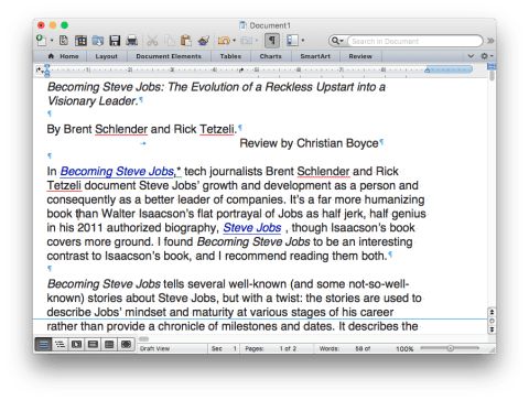 Word document showing Invisible Characters
