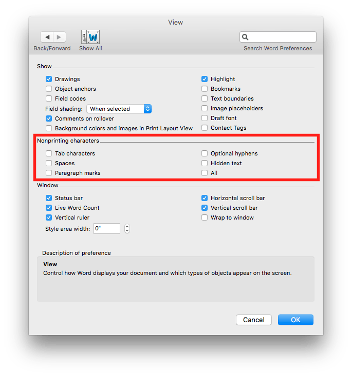 "Be sure you don't have anything checked under ""Nonprinting characters."""