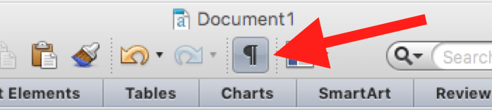 Invisibles Toggle button in Microsoft Word toolbar