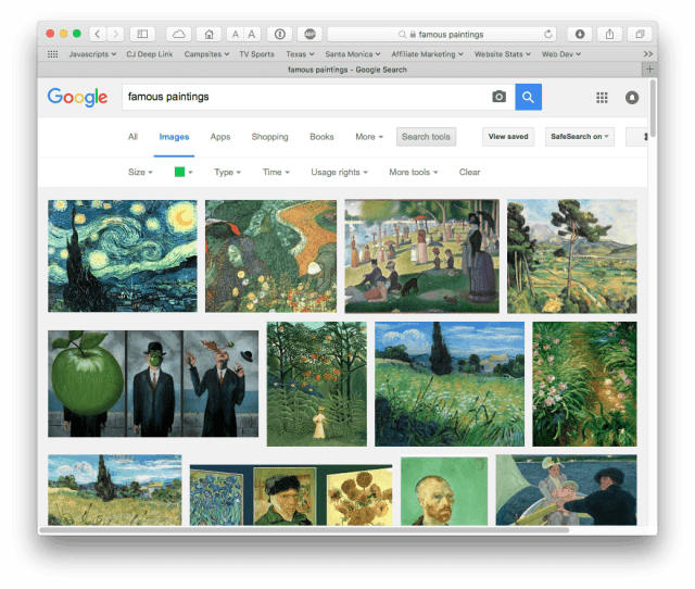 """Google search results for """"famous paintings"""" filtered to green"""