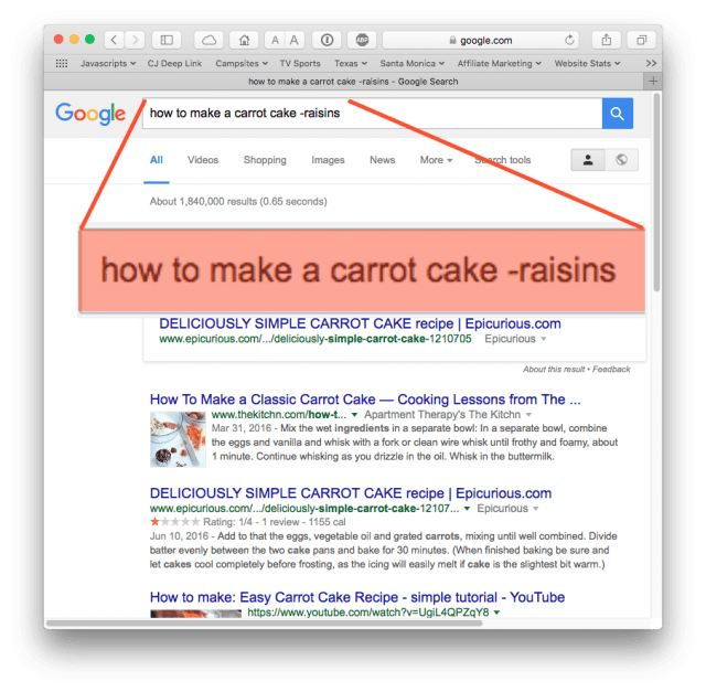 Google search results, excluding those with raisins (via minus sign)