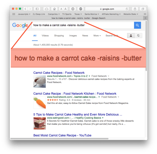Google search for how to make a carrot cake, no raisins, no butter