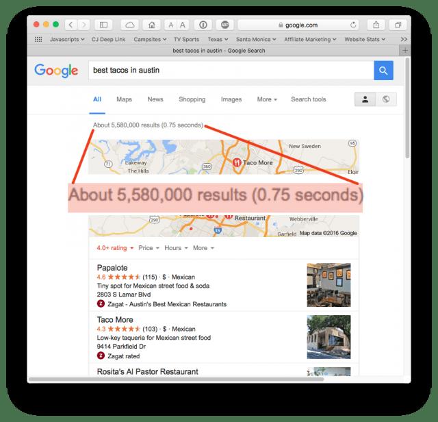 Almost 6 million Google search results